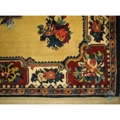 قالیچه دستباف بختیاری تمام پشم گل پتو رنگ گیاهی