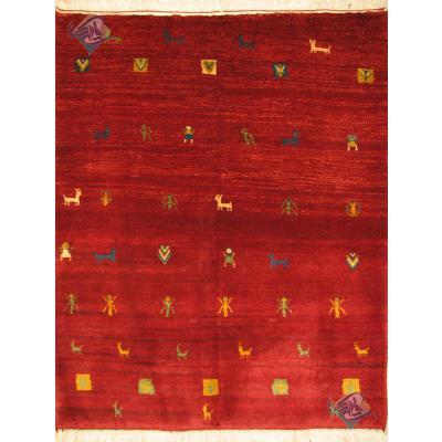 قالیچه دستباف گبه قشقایی تمام پشم دستریس طرح عشایری