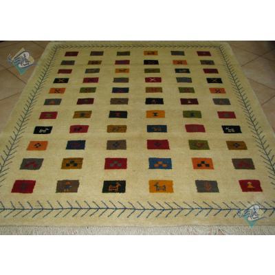 قالیچه دستباف گبه قشقایی تمام پشم دستریس طرح خشت