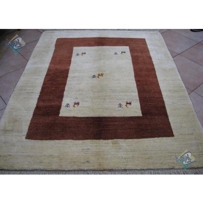 قالیچه دستباف گبه قشقایی تمام پشم دستریس طرح کف ساده