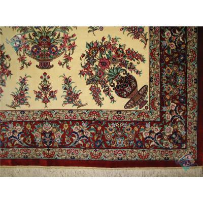 قالیچه دستباف تمام ابریشم قم نقشه دسته گلی تولیدی روزگرد