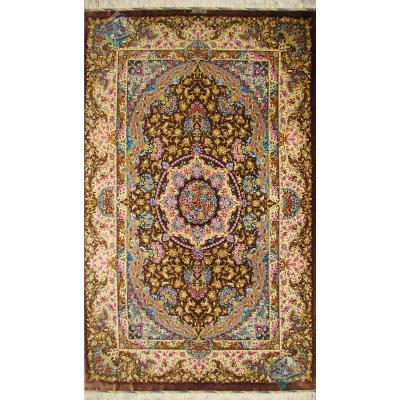 قالیچه دستباف تمام ابریشم قم نقشه جدید تولیدی امیر شیرازی