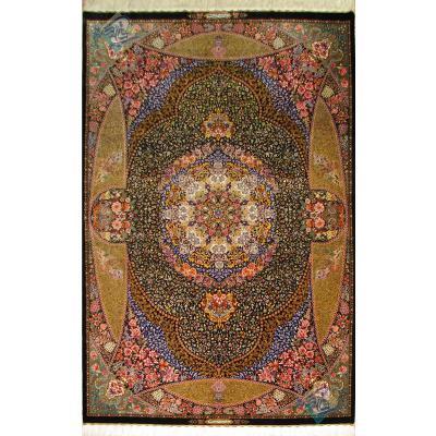 قالیچه دستباف تمام ابریشم قم تولیدی شفق نقشه اعلا گلریز