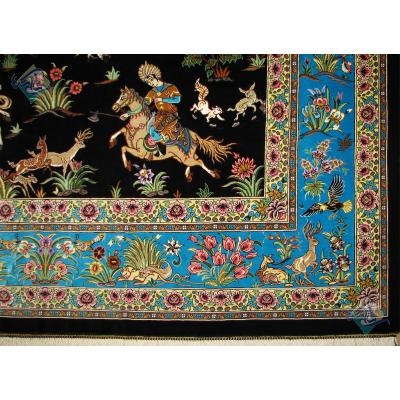 قالیچه دستباف تمام ابریشم قم طرح شکارگاه تولیدی شریفی هشتاد رج