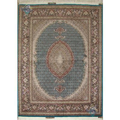 جفت قالیچه طرح جدید ماهی یازده متن گل ابریشم پنجاه رج