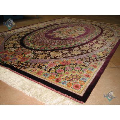 قالیچه دستباف تمام ابریشم قم طرح گلستان تولیدی صبوری هشتاد رج