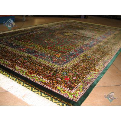 Rug Qom Carpet Handmade Bergamot Design all Silk