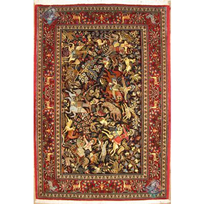 Zar-o-nim Qom Carpet Handmade Hunting Ground Design Soft Wool