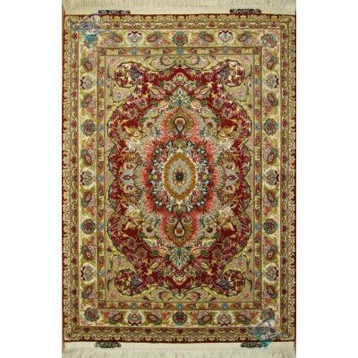 Zar-o-nim Tabriz Handwoven Carpet Kohan Design