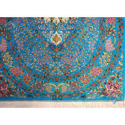 ذرع و نیم دستباف تمام ابریشم قم نقشه سینی گل تولیدی رضایی