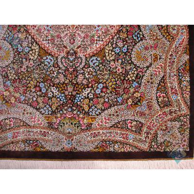 ذرع و نیم دستباف تمام ابریشم قم ترنجی گلریز تولیدی شیرازی