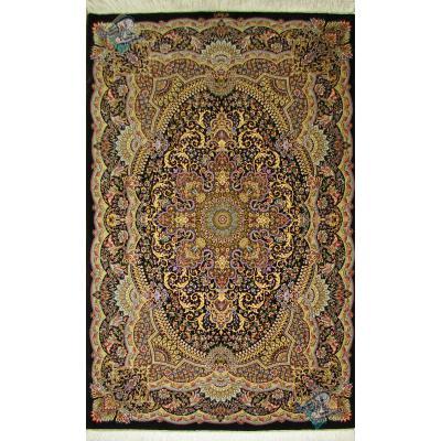 Zar-o-Nim Qom Handwoven Bergamot Design All Silk