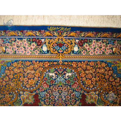 ذرع و نیم دستباف تمام ابریشم قم لچک ترنج حیواندارتولیدی شیرازی