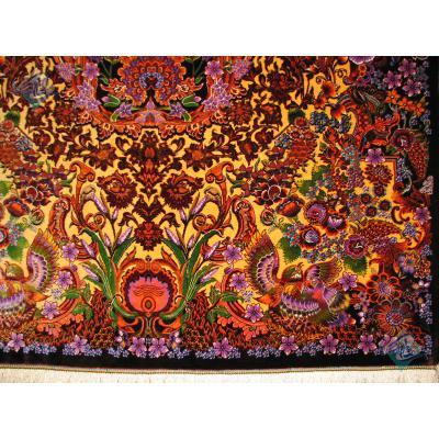 ذرع و نیم دستباف تمام ابریشم قم طرح یکطرفه گل فرنگ کاظمی هشتاد رج