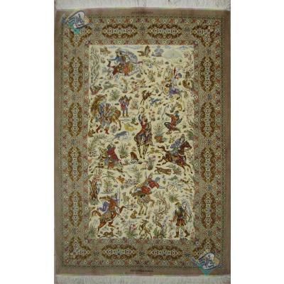 قالیچه تمام ابریشم قم تولیدی صادق زاده طرح شکارگاه