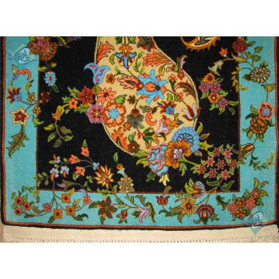 تابلو فرش دستباف قم طرح بته جقه چله و گل ابریشم