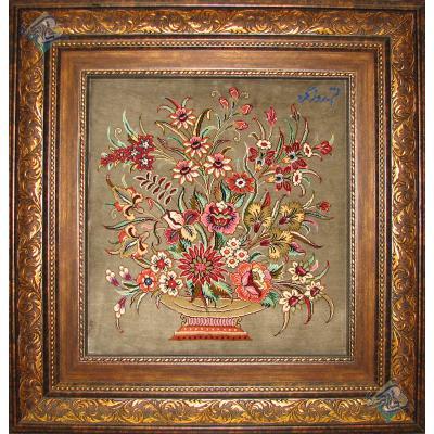 Tableau Carpet Handwoven Qom Antique Flowers Design