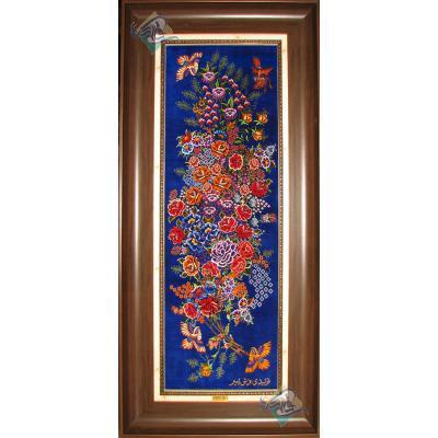 Tableau Carpet Handwoven Qom Flowers and nightingales Design