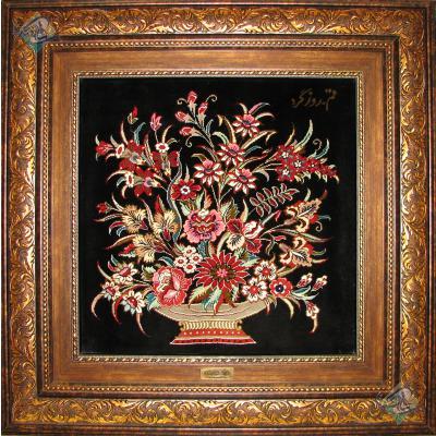 Tableau Carpet Handwoven Qom Antique Flowers Design All Silk