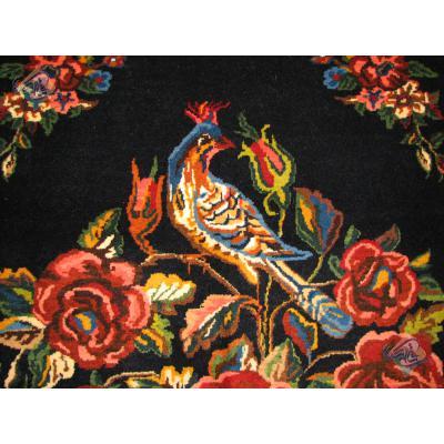پرده ای دستباف بختیاری طرح گل مرغ  رنگ گیاهی