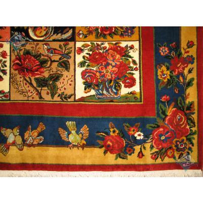پرده ای دستباف بختیاری خشت شیدا حاشیه پرنده دار رنگ گیاهی
