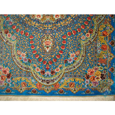 ذرع و چهارک دستباف تمام ابریشم قم تولیدی شیرازی