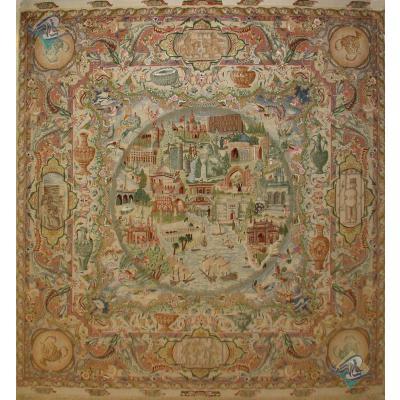 فرش دستباف مربع دونیم در دو و نیم متر تبریز طرح جلالی شصت رج