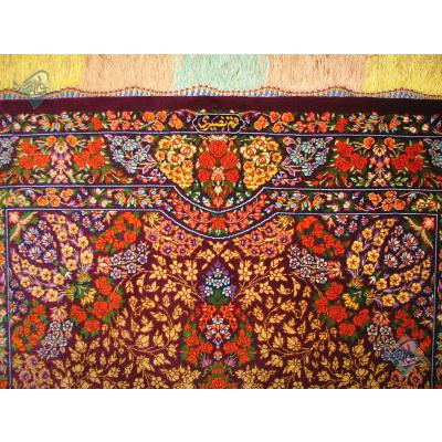 Zar-o-Charak Qom Handwoven Bergamot Design All Silk