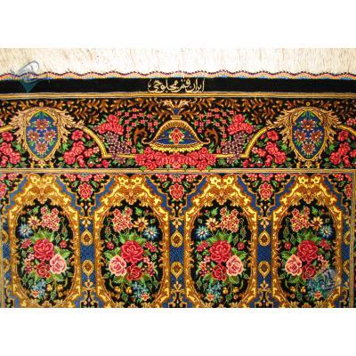 Zar-o-Charak Qom Handwoven Mahloji Design All Silk