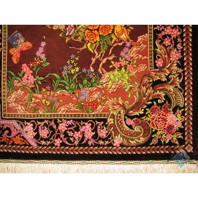 تابلو فرش دستباف تمام ابریشم قم گل و بلبل تولیدی بیطرفان