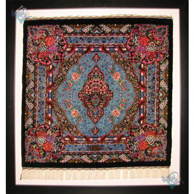 تابلو فرش دستباف تمام ابریشم قم تولیدی شهریار مربع