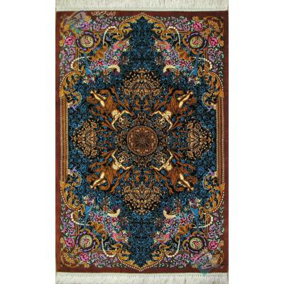 Mat Qom Carpet Handmade Versace Design All Silk
