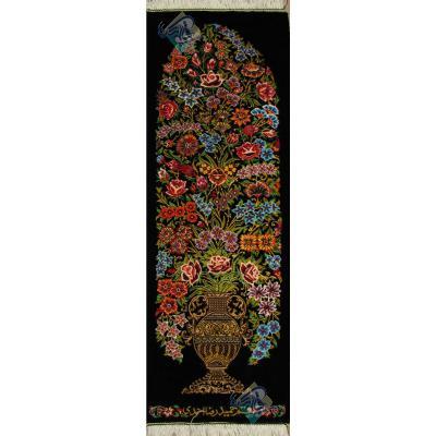 Tableau Carpet Handwoven Qom Flower pot Design all Silk