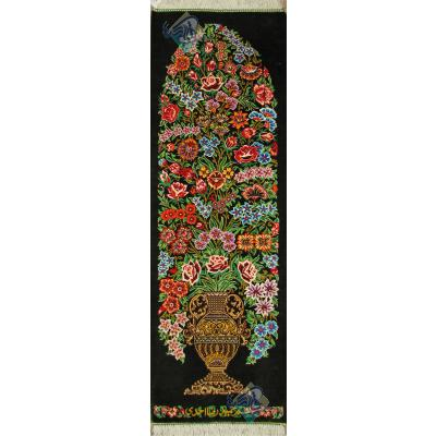Tableau Carpet Handwoven Qom Flower pot Design all Silk