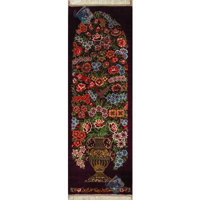 تابلویی فرش دستباف تمام ابریشم قم ستونی گلدانی تولیدی احمدی بدن قاب
