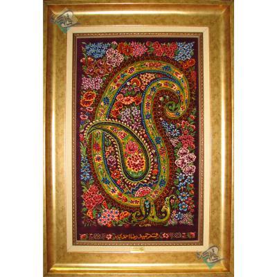 تابلویی فرش دستباف تمام ابریشم قم طرح بته گلدار تولیدی احمدی