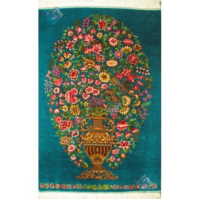 تابلویی فرش دستباف تمام ابریشم قم گلدانی تولیدی احمدی بدون قاب