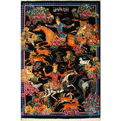 Tableau Carpet Handwoven Qom Hunting ground Design all Silk