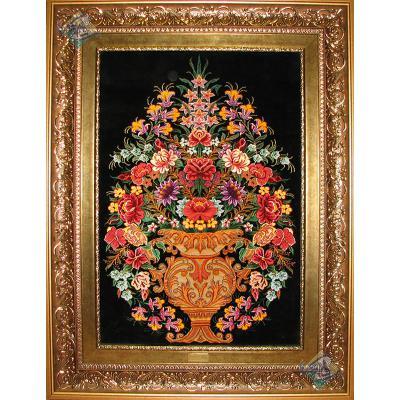 تابلویی فرش دستباف تمام ابریشم قم گلدانی هشتاد رج ریز باف