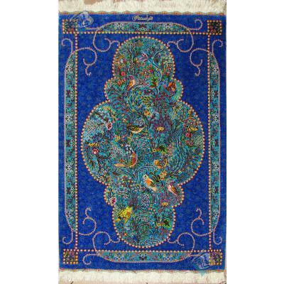سایز پشتی دستباف تمام ابریشم قم طرح گل و بلبل اسحاقی هشتاد رج