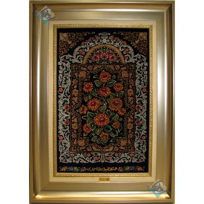 تابلویی فرش دستباف تمام ابریشم قم قابی گل داوودی تولیدی احمدی