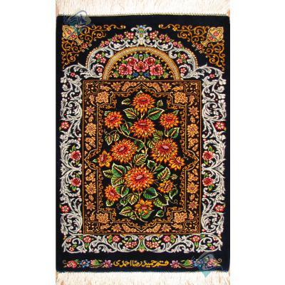 تابلویی فرش دستباف تمام ابریشم قم قابی گل داوودی تولیدی احمدی بدون قاب
