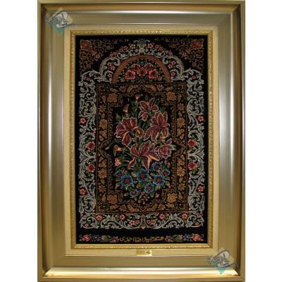 تابلویی فرش دستباف تمام ابریشم قم قابی گل زنبق تولیدی احمدی