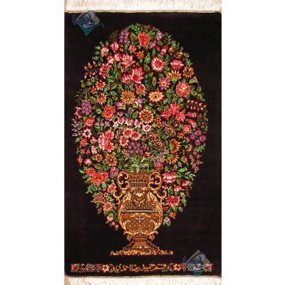 تابلویی فرش دستباف تمام ابریشم قم گلدانی تولیدی احمدی بدن قاب