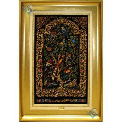 تابلویی فرش دستباف تمام ابریشم قم گل و بلبل تولیدی احمدی