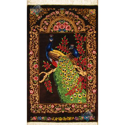 Tableau Carpet Handwoven Qom Peacock Design all Silk