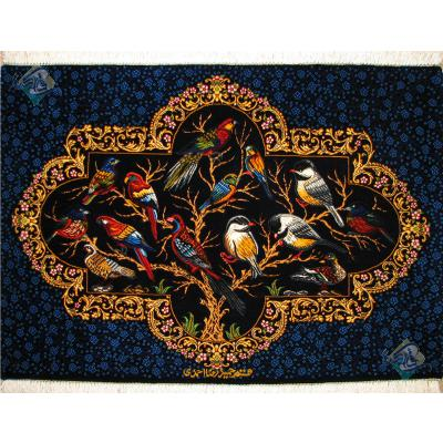 Tableau Carpet Handwoven Qom Bird Garden Design all Silk