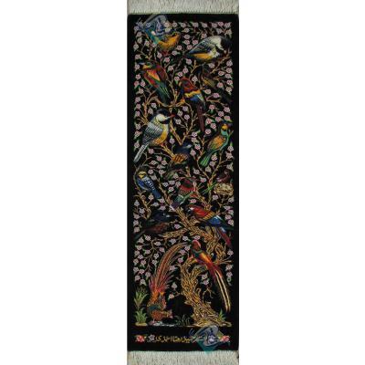 تابلویی فرش دستباف تمام ابریشم قم گل و بلبل ستونی تولیدی احمدی بدن قاب