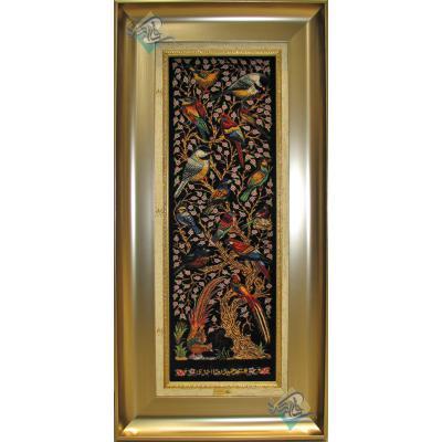 تابلویی فرش دستباف تمام ابریشم قم گل و بلبل ستونی تولیدی احمدی