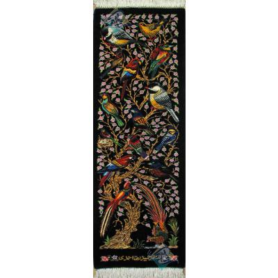 Tableau Carpet Handwoven Qom flower and bird Design all Silk